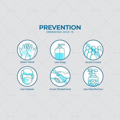 Icône de mesures de prévention du coronavirus
