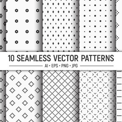 10 seamless geometric shapes vector patterns