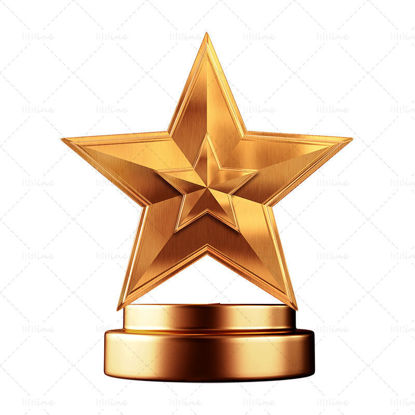 Cartoon five-pointed star trophy