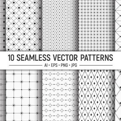 10 безшевни геометрични векторни шарки