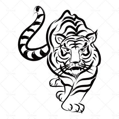 Традиционен вектор тигър година ръка нарисуван тигър