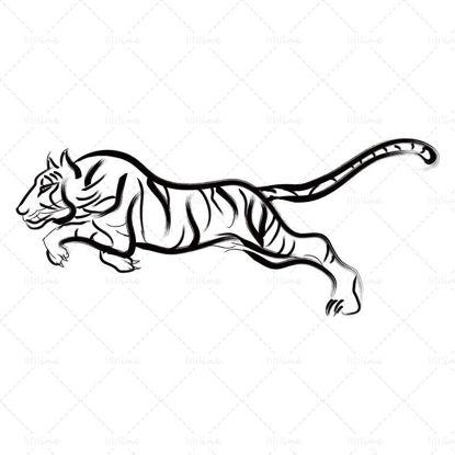 Традиционен китайски стил, ръчно рисуван скачащ тигър за годината на тигъра