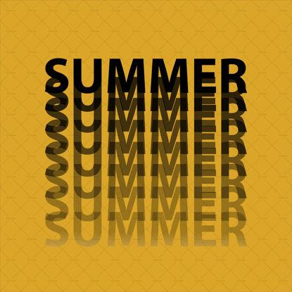Лято, цифров почерк, надписи, черни букви с градиент върху цвета на златото на Фортуна, векторни илюстрации на тенденция, модерен дизайн, лого. Лятна илюстрация, банер, плакат, пощенска картичка.