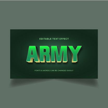 Армейско зелено и златисто редактируем 3D текстов ефект