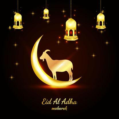 Eid al adha mubarak golden islamic banner with lights goat moon vector illustration banner