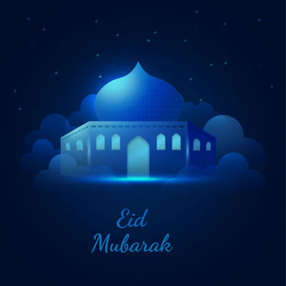 Eid mubarak blue neon islamic vector banner illustration with clouds and mosque