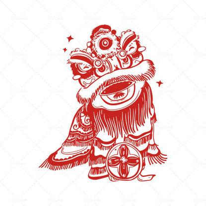 Китайски стил хартия нарязани вектор лъв танц