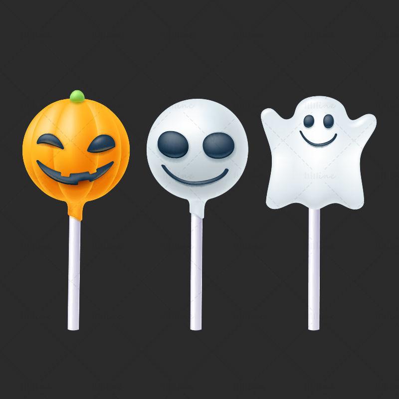 Bonbons de sucette halloween de vecteur de dessin animé