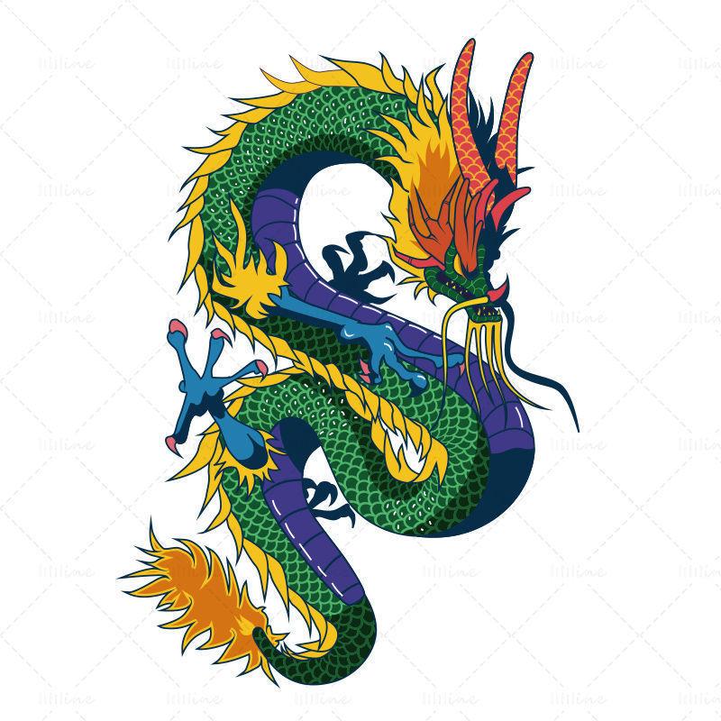 Dragon chinois dessiné à la main de vecteur
