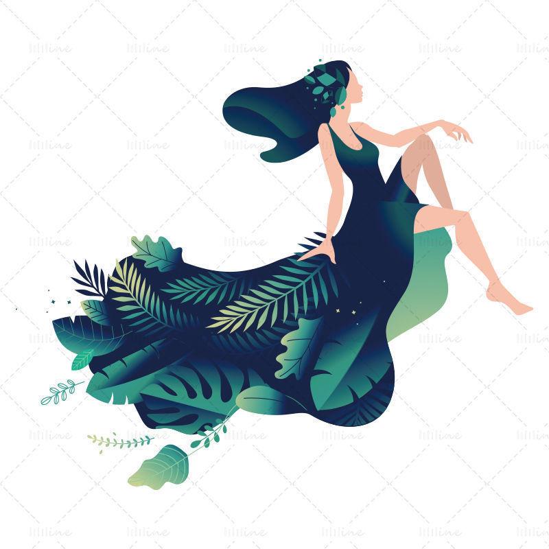 Illustration de personnage de style plat fille forêt
