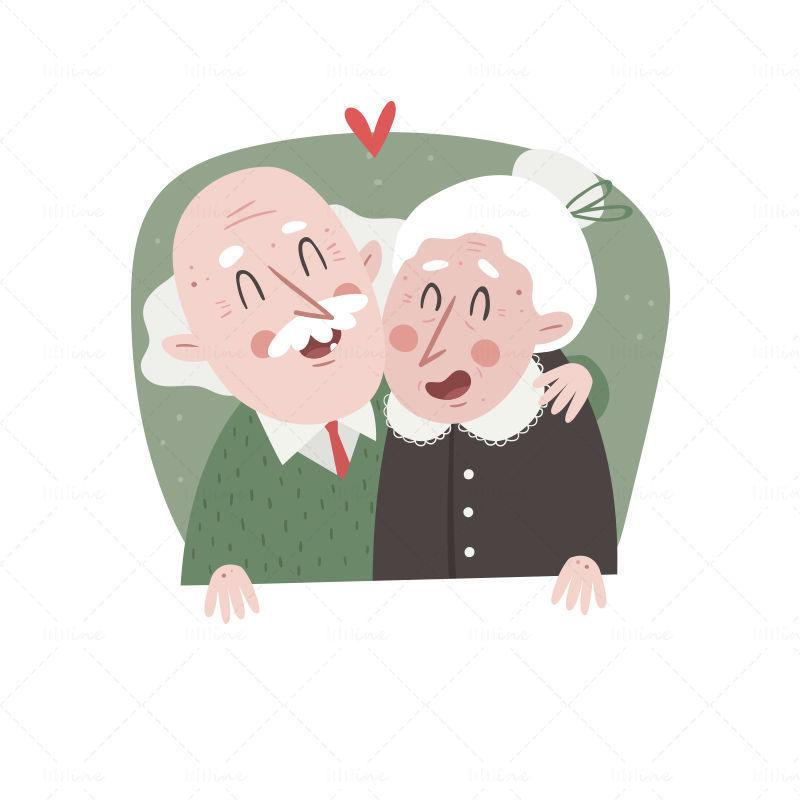 Vecteur, aimer, personnes âgées, couple de personnes âgées, illustration