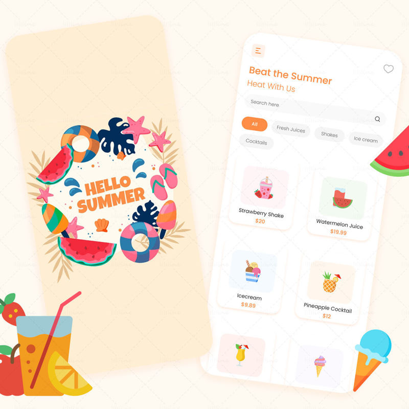 Hello Summer APP UI UX Design Template