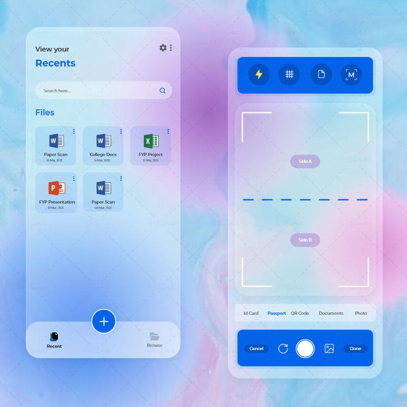 Cam Scanner App UIUX Glassmorphism Concept