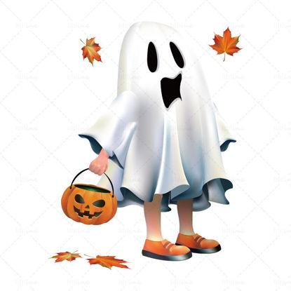 Вектор Хелоуин призрак елф тинан