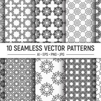 10 безшевни ориенталски геометрични векторни шарки