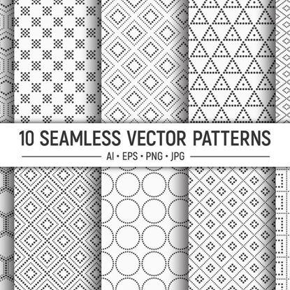 10 безшовни пунктирани геометрични векторни шарки
