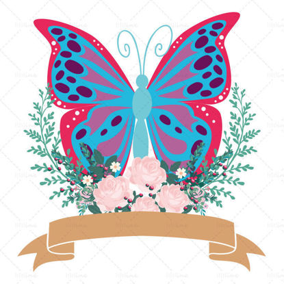 Butterflies and flowers tags vector