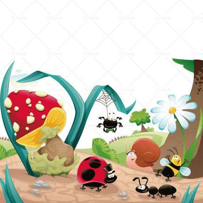 Illustration design of cartoon forest
