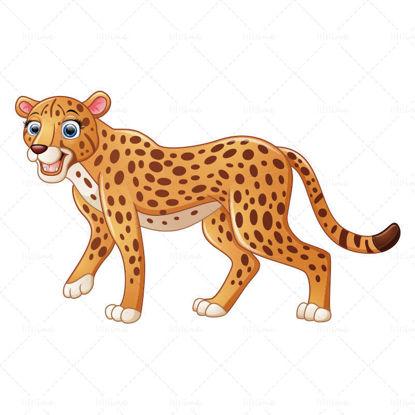 vector Leopard in cartoon zoo