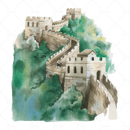 vector Hand drawn style great wall of china