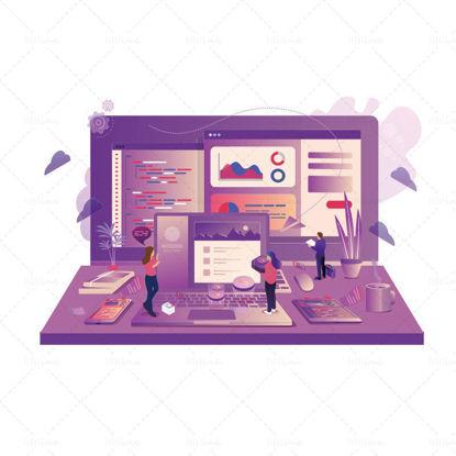2.5d three-dimensional financial office illustration