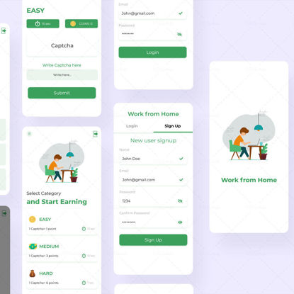 Work from Home Earning App UIUX