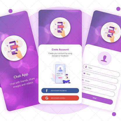 Chat App UI UX Template violet