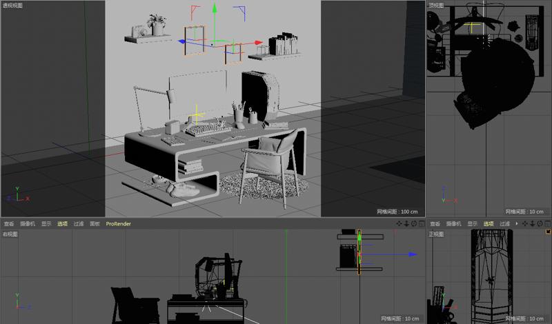 File di origine del progetto 3d di scena di interni in stile semplice e realistico (c4d)