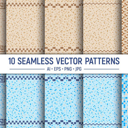 10 modelli vettoriali senza soluzione di continuità di mosaico di piastrelle di ceramica