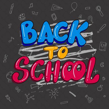 بازگشت به مدرسه ، حروف دیجیتالی دستی ، حروف آبی ، زرد و صورتی با گچ سفید در تخته سیاه مشکی با موضوعات و عناصر مدرسه. تصویر برداری از بنر. الگو برای مدرسه. کارتون Doodle و سبک خط. عنصر آموزش.