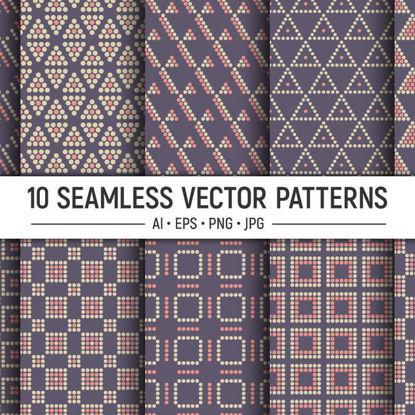10 бесшовные векторные узоры с пунктирными геометрическими фигурами