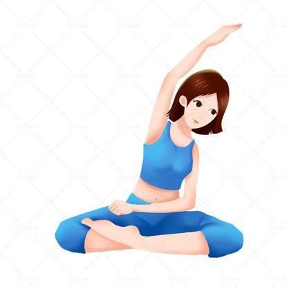 Рисованной иллюстрации персонажей фитнес здоровых упражнений занимаясь йогой