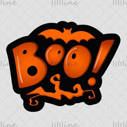 Boo!、ねじれた木の枝と白い背景にコウモリと影のオレンジ色の文字。ベクトルイラスト。バナー、ポスター、グリーティングカード、招待状のデジタルレタリングを手渡します。ハロウィーン。