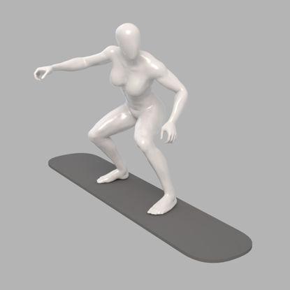Surfing female mannequin strong surfer 3d print model