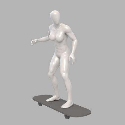 Roller skating female mannequin 3d print model