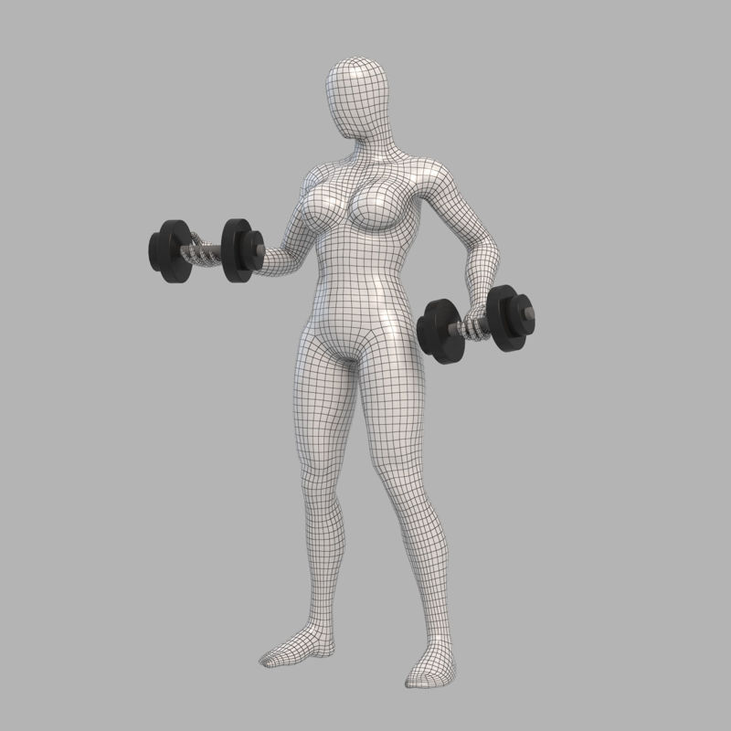 Pumping iron female mannequin 3d print model