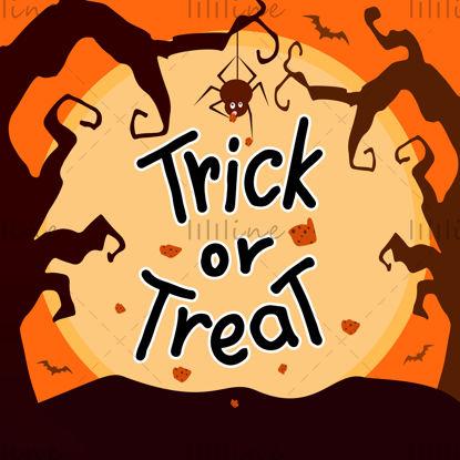 Trick or treat, zwarte letters, spin, koekjes, gedraaide bomen, vleermuizen, gele zonsondergang op de achtergrond. Vectorillustratie. Digitale hand belettering voor een spandoek, een poster, een wenskaart, een uitnodiging, een feest. Halloween.
