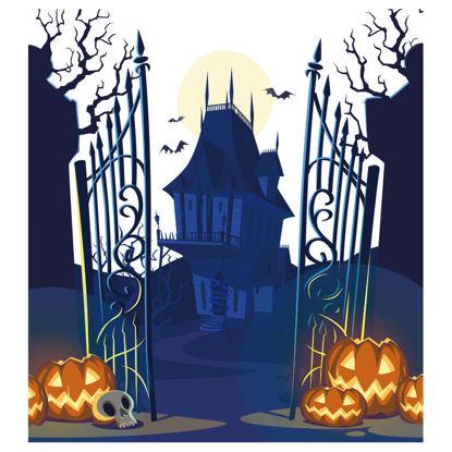 Blue haunted house halloween hand drawn