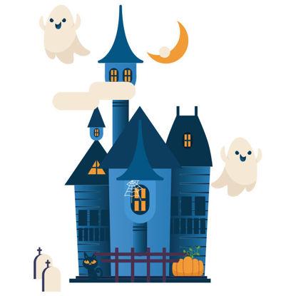 Flying ghost halloween haunted house
