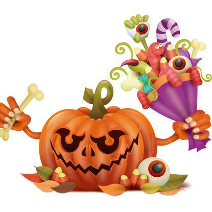 Pumpkin holding a bouquet of bugs vector