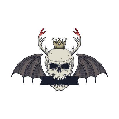 Vector halloween white skull bat