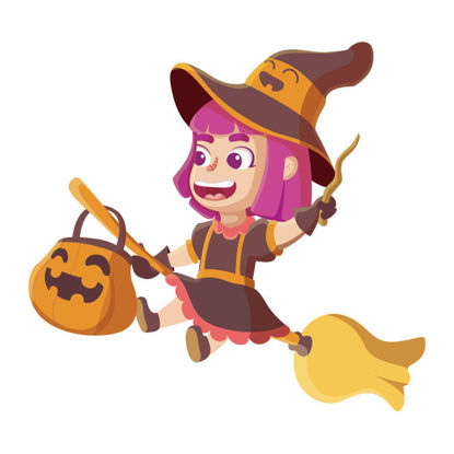 Vector cute halloween witch riding a broom