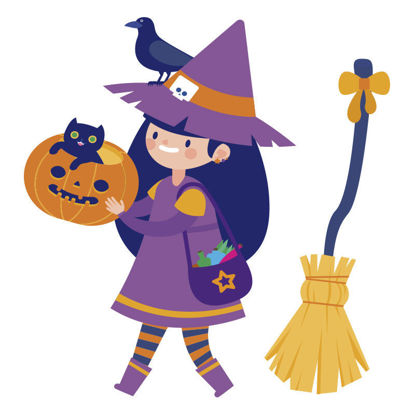 Vector Halloween Party Witch Dress Up