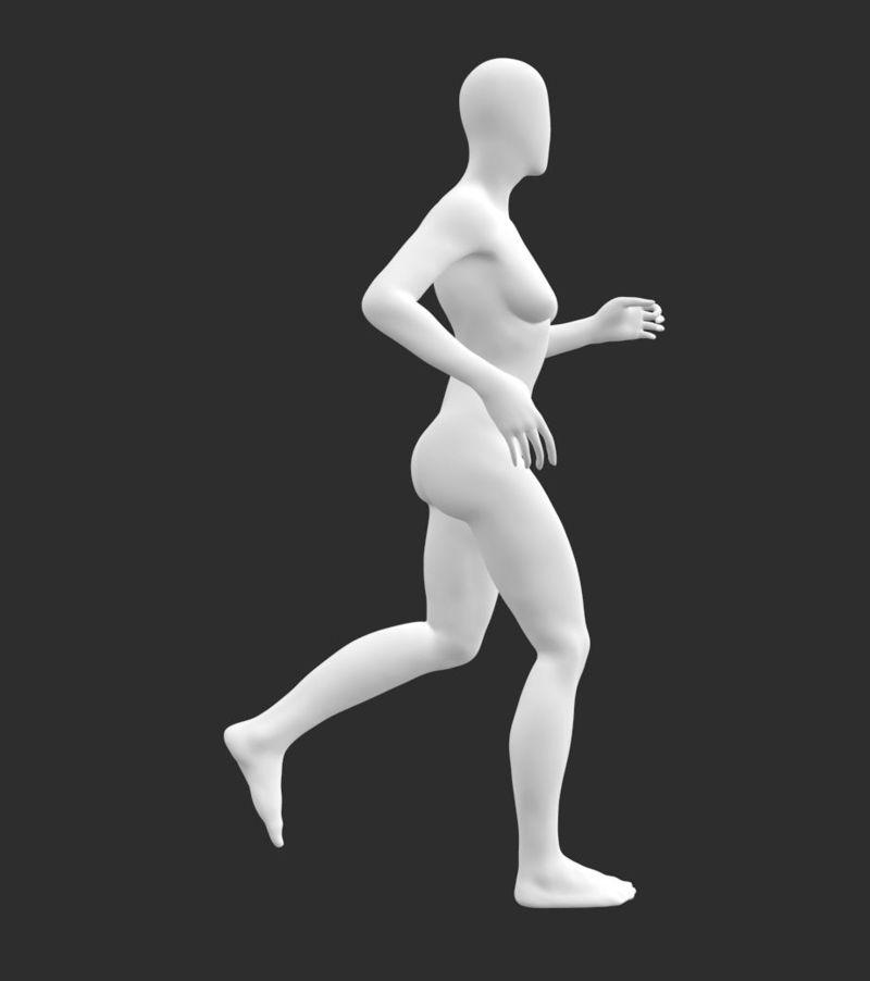 مانکن دونده مدل چاپ سه بعدی زنانه باریک