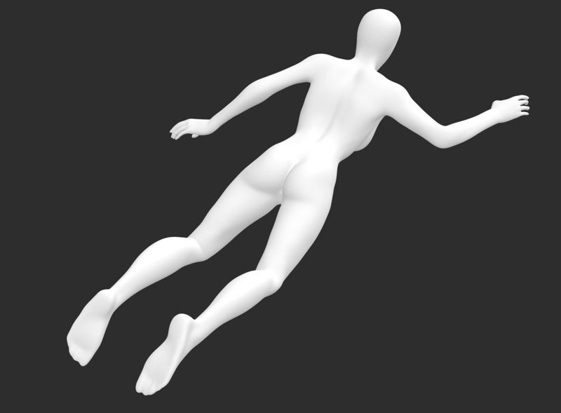 مدل چاپ سه بعدی مانکن زن غواص باریک