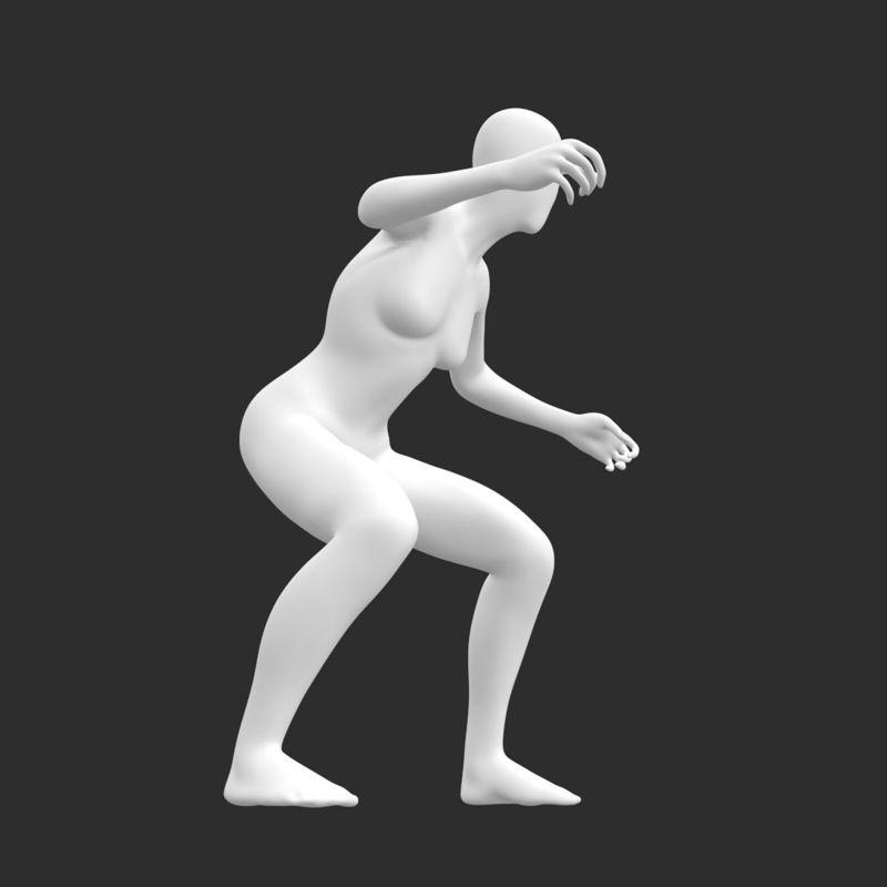 مدل چاپ سه بعدی مانکن زنانه باریک مدل موج سواری