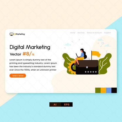 زن با استفاده از طراحی بازاریابی دیجیتال لپ تاپ
