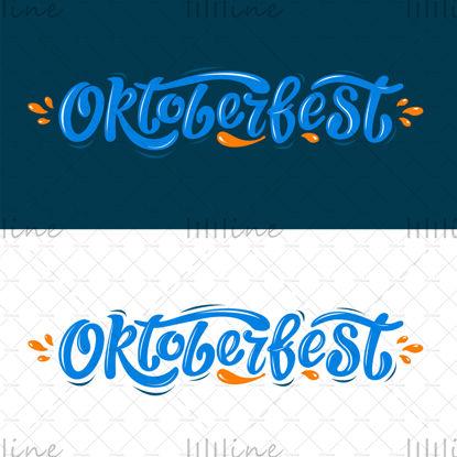 Oktoberfest diseño de vector de letras manuscritas, letras azules con gotas naranjas sobre fondo blanco y azul. Celebración de eventos de plantilla de diseño. Título para tarjetas y carteles. Banner del festival de la cerveza bávara