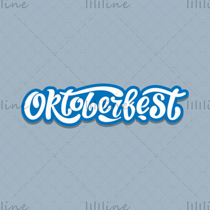 Oktoberfest diseño de vectores de letras manuscritas, letras blancas sobre fondo azul. Celebración de eventos de plantilla de diseño. Título para tarjetas de felicitación y carteles. Banner del festival de la cerveza bávara