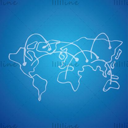 Глобальная карта с линией связи